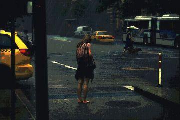 girl alone rain photography edit