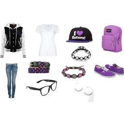 teenage girl outfit accesories purple vans