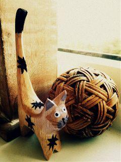 ball wood cat cute deco